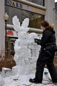 Ice carving demonstration St. George's Square Guelph Fourth Friday's