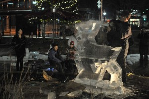 Ice sculpture Fourth Friday's Guelph