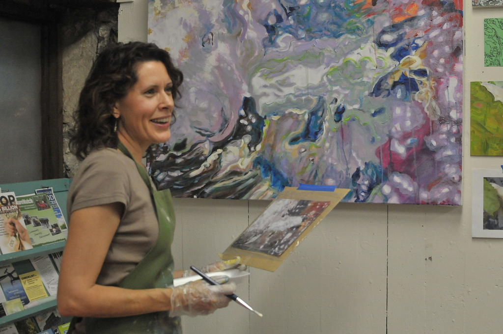 Carol Tinga painting at 10 Carden Guelph Fourth Friday's
