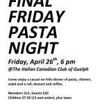 Final Friday Pasta Night Guelph poster