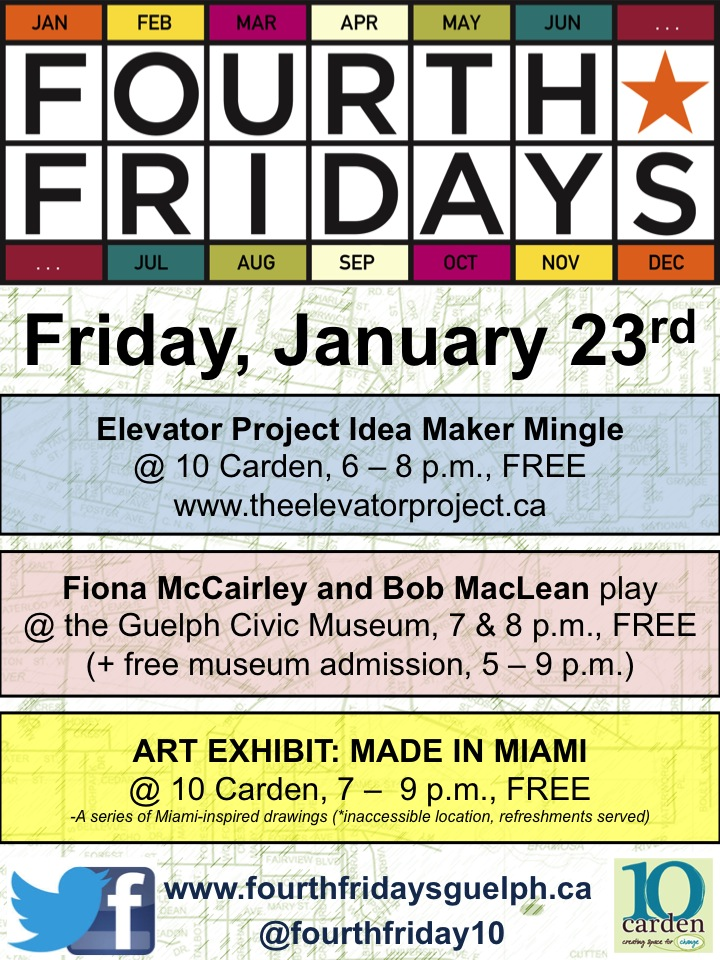 Fourth Fridays Guelph January Line Up poster