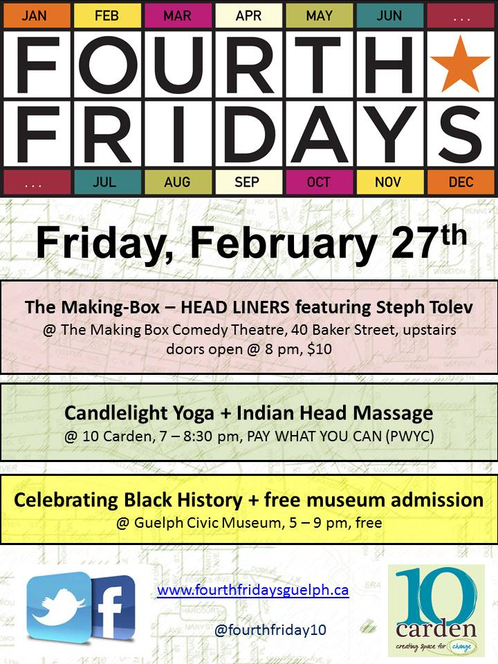 Fourth Fridays Guelph February poster